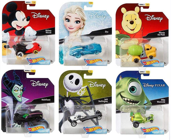 HOT WHEELS Character Cars - Disney Series 1 set of 6