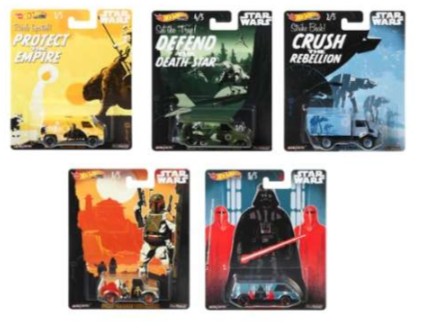 HOT WHEELS DIECAST - Real Riders Pop Culture - Star Wars set of 5