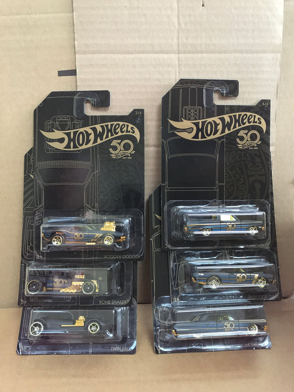 HOT WHEELS DIECAST - 50th Anniversary Black and Gold Set Of 6