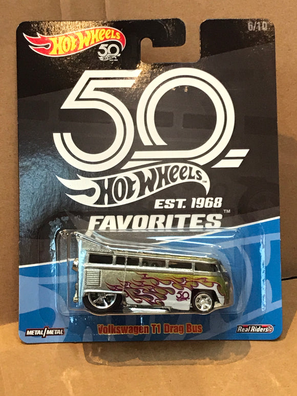 HOT WHEELS DIECAST - Real Riders 50th Anniversary Favorites - Volkswagen T1 Drag Bus