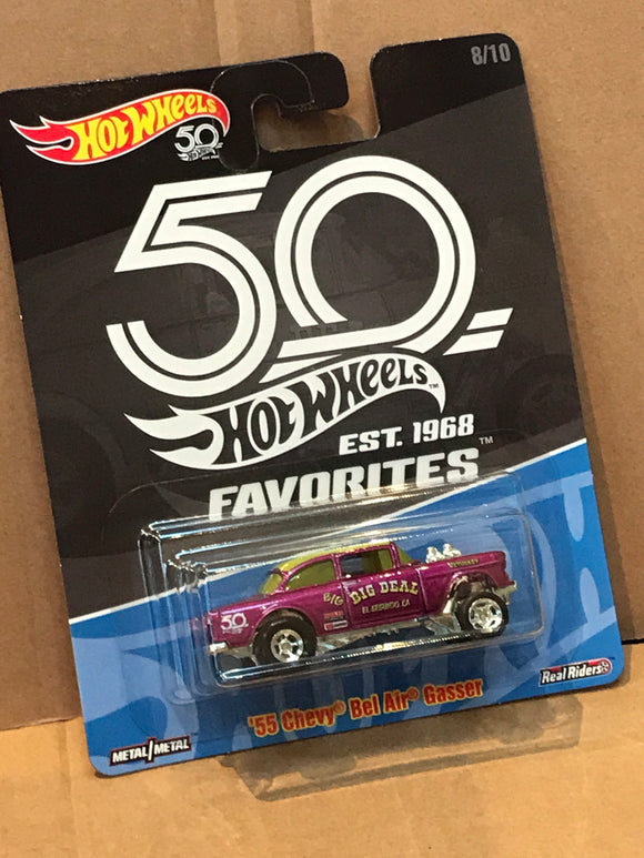 HOT WHEELS DIECAST - Real Riders 50th Anniversary Favorites - '55 Chevy Bel Air Gasser