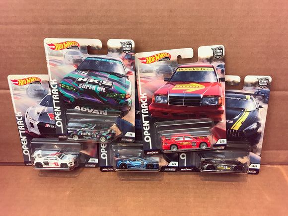 HOT WHEELS DIECAST - Real Riders Car Culture - Open Track Set Of 5