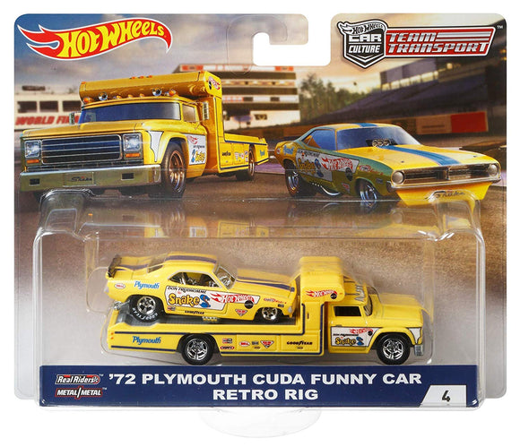 HOT WHEELS DIECAST - Team Transport 72 Plymouth Cuda Funny Car Retro Rig