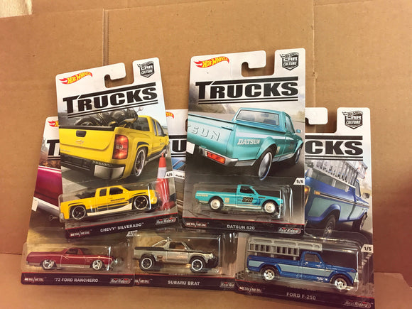 HOT WHEELS DIECAST - Real Riders Car Culture - Trucks Set Of 5