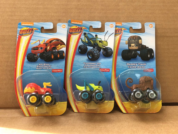 Blaze and the Monster Machines - Ant Zeg Monkey lot of 3