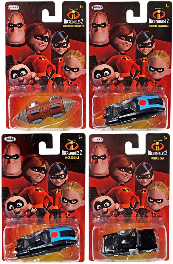 THE INCREDIBLES 2 - set of 4 diecast Incredible Car Tunneler