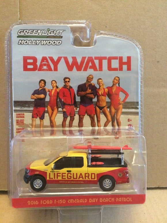 GREENLIGHT HOLLYWOOD DIECAST - BAYWATCH - 2016 Ford F-150 Emerald Bay Beach Patrol