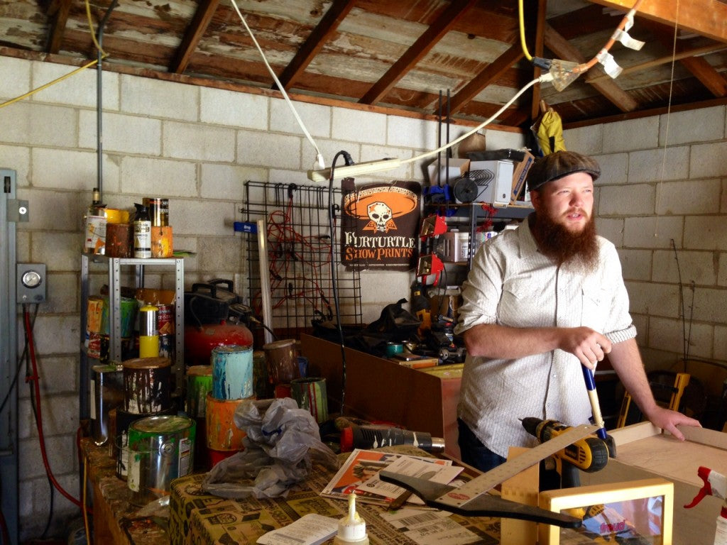 Travis Bone Furturtle in his studio.