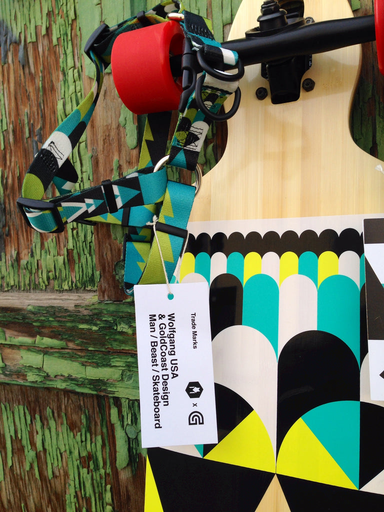 Closeup of Goldcoast skateboard with Wolfgang ProcessPrint products.