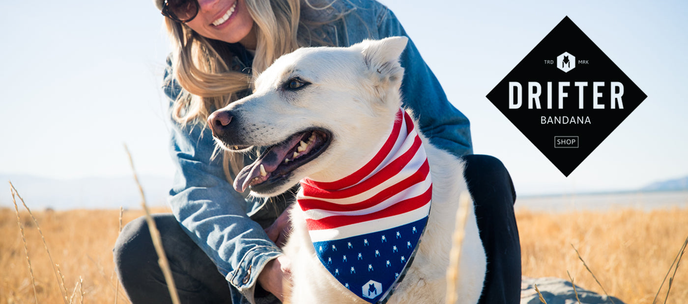 Blonde girl smiling with white dog wearing a stars-and-stripes bandana.