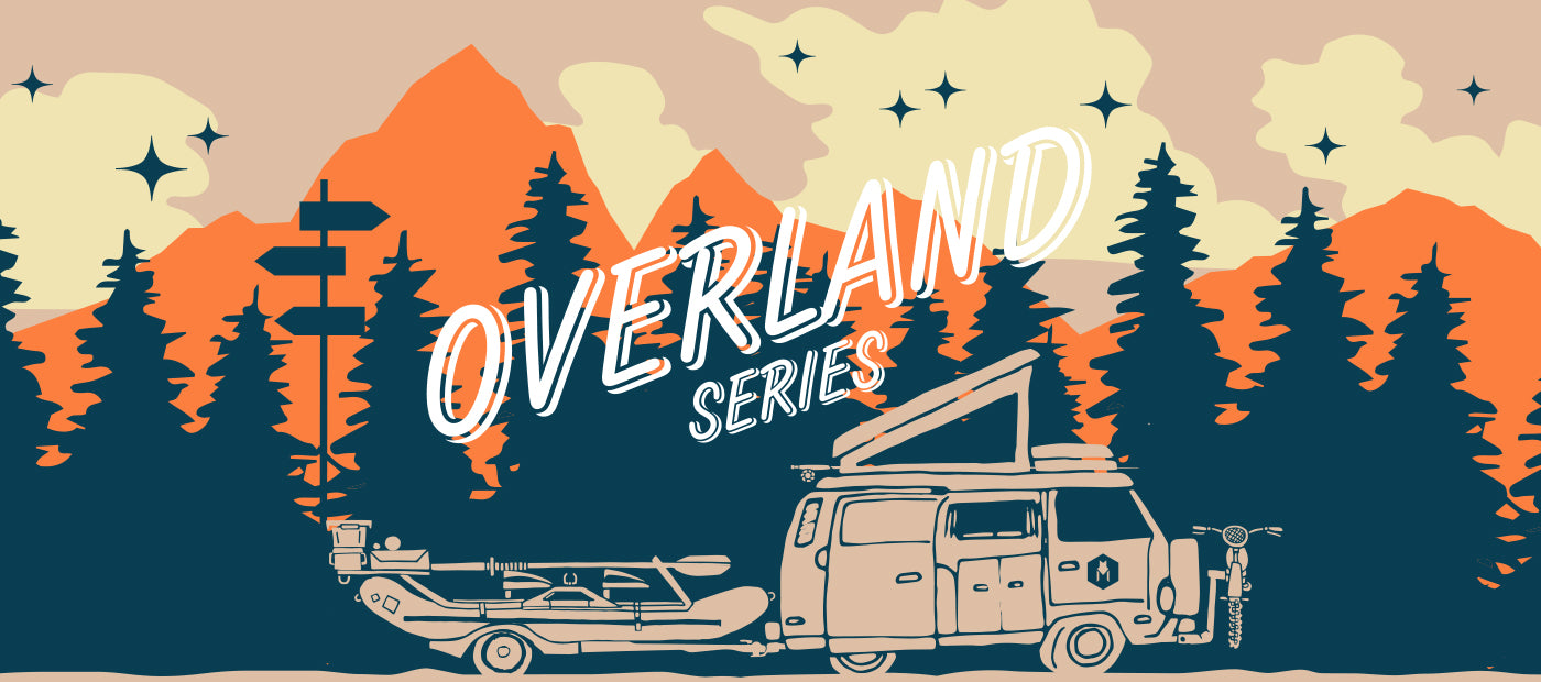 illustration of camper van in forest links to the Overland series.