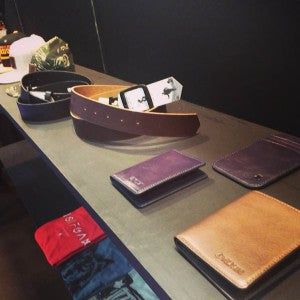 Wolfgang wallet and belt collection at trade show in Tokyo, Japan.
