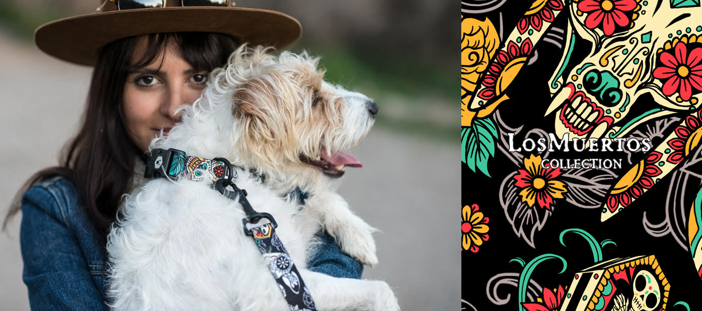 Dark-haired woman with scruffy white-and-tan dog wearing Los Muertos collar and leash. Links to los muertos collection
