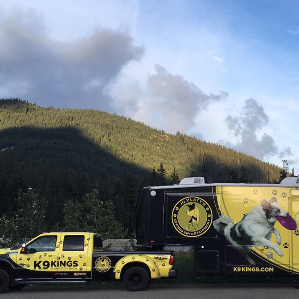 JD Platt's K9 Kings Show Dogs bright yellow and black travel rig.
