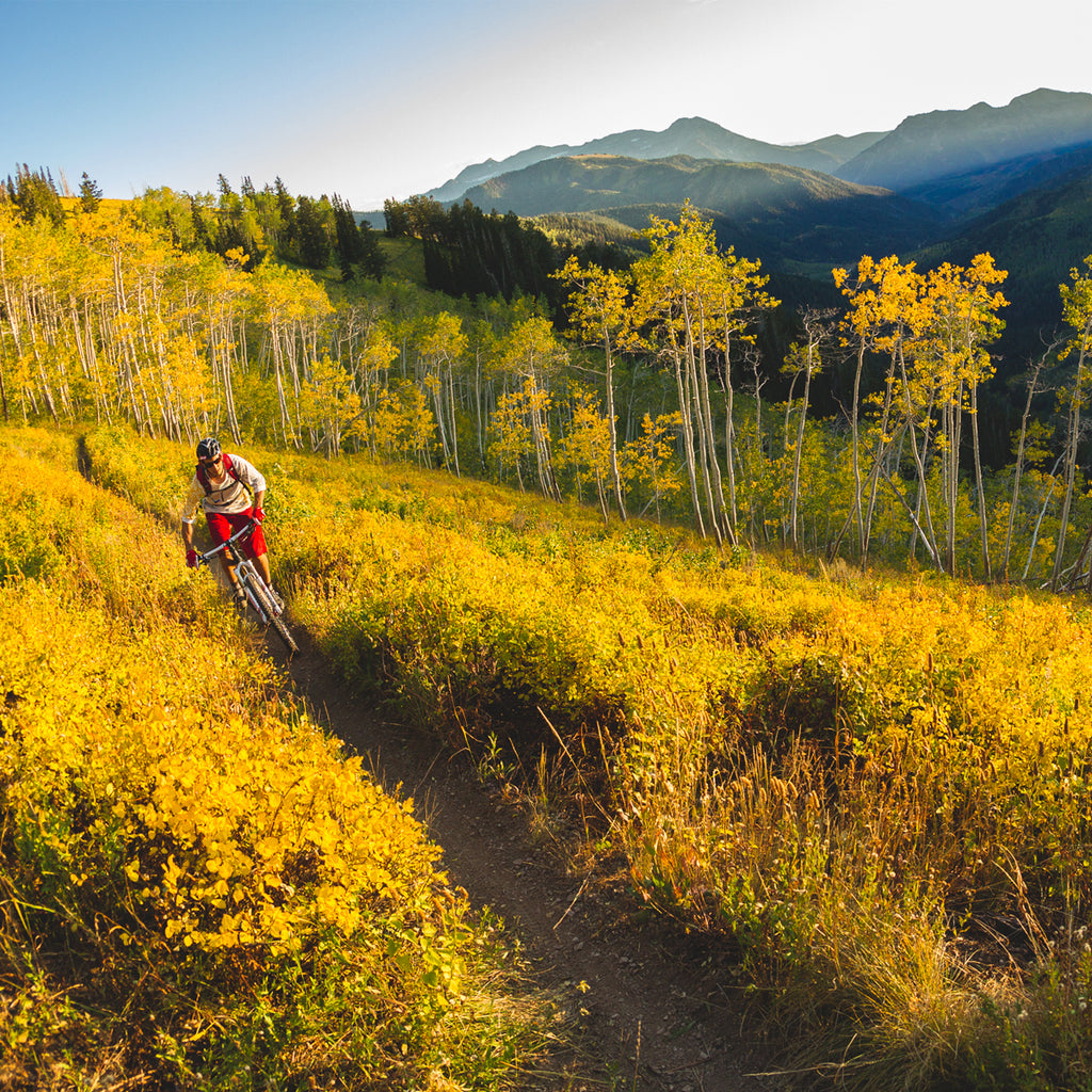 Eric Porter riding his mountain bike on a trail through fall colors in the mountains.