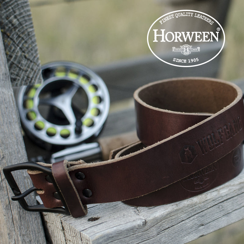 Horween Men's belt on bench.