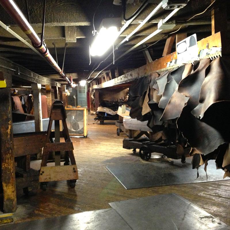 Inside the Horween tannery.