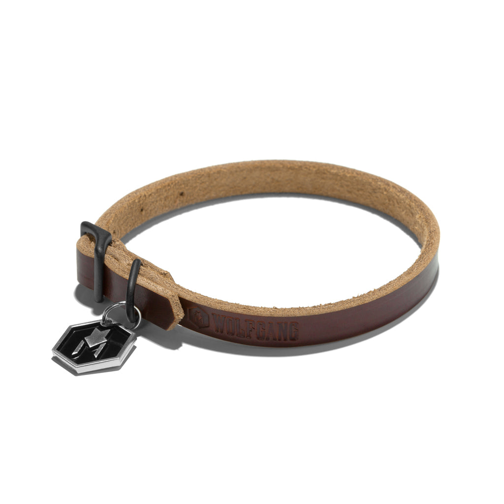 Wolfgang Horween leather tan small dog collar.