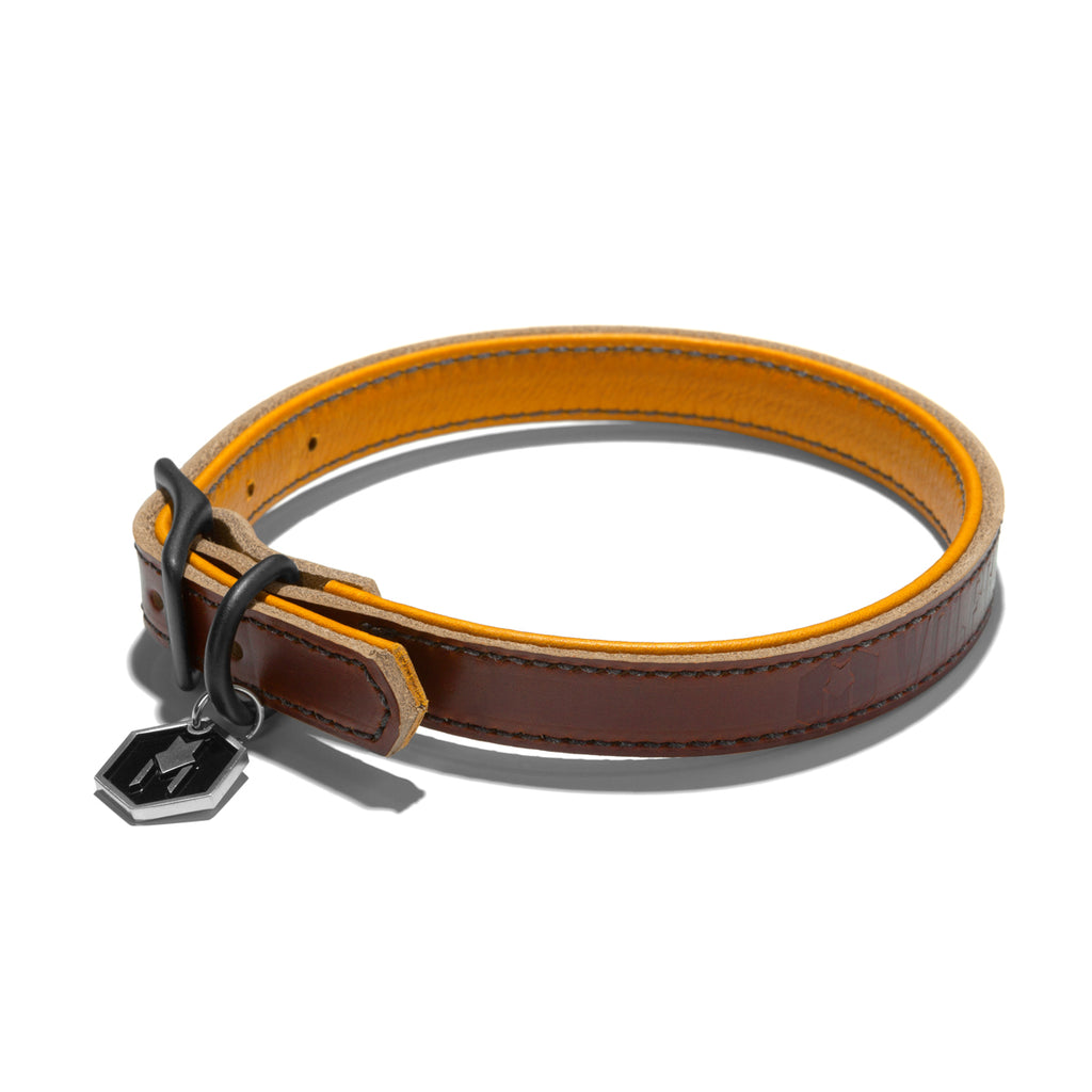 Wolfgang Horween leather tan medium dog collar with glove leather lining.