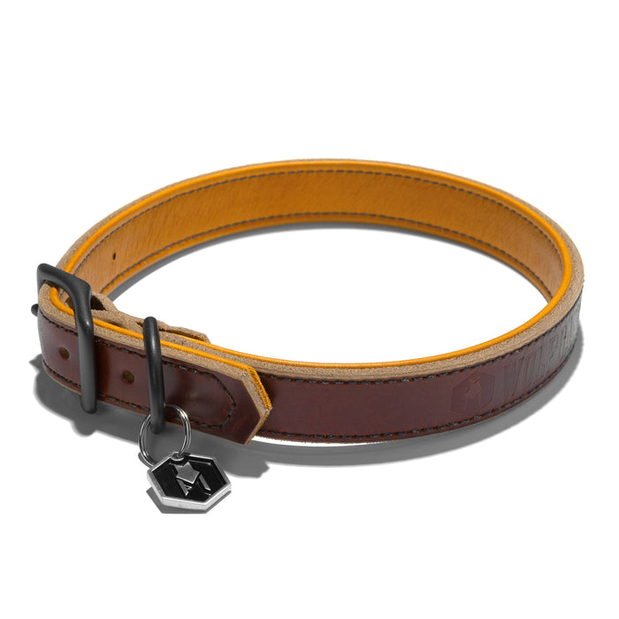 Wolfgang Horween leather natural large dog collar with glove leather lining.