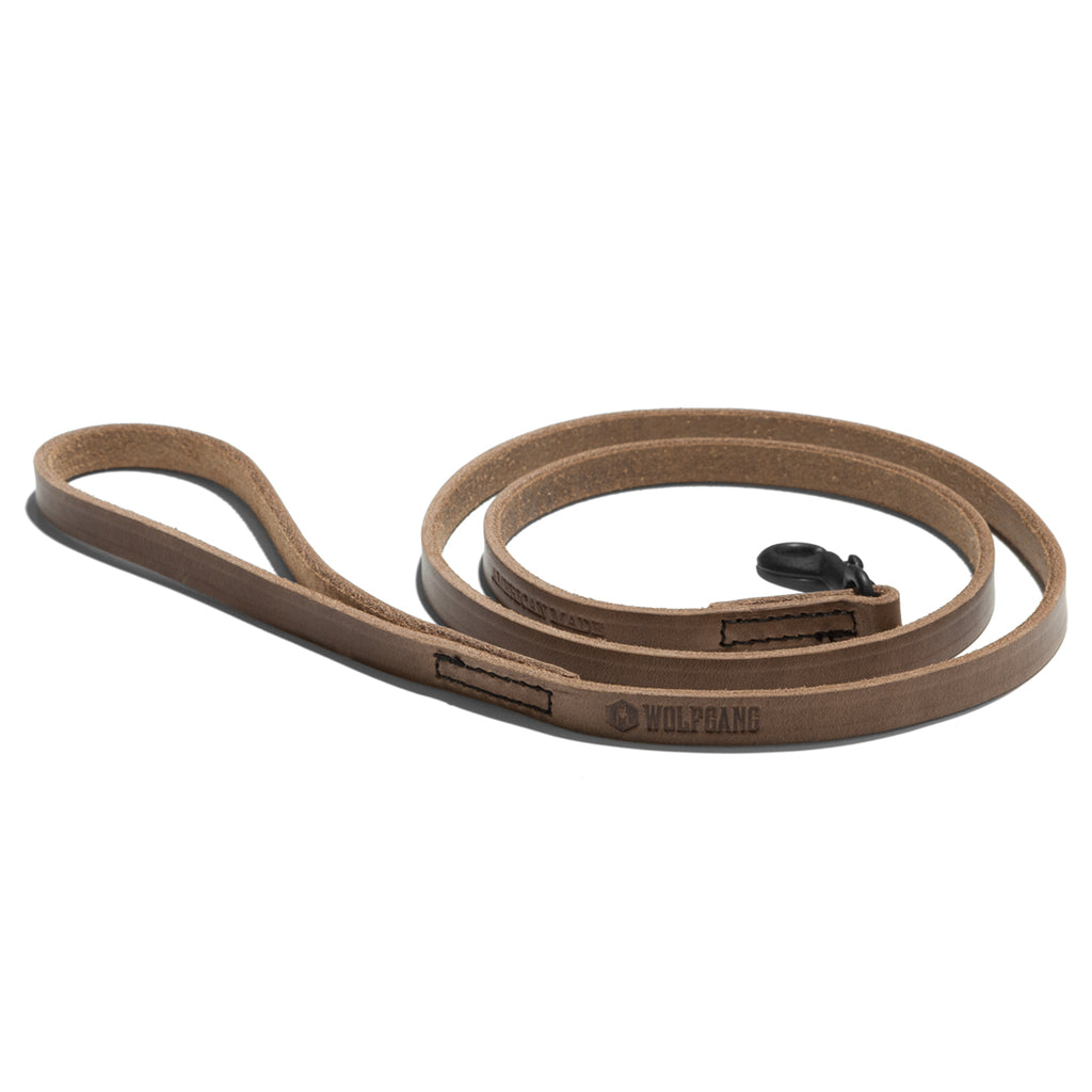 Horween Leather Natural Color DOG LEASH Made in the USA by Wolfgang Man & Beast
