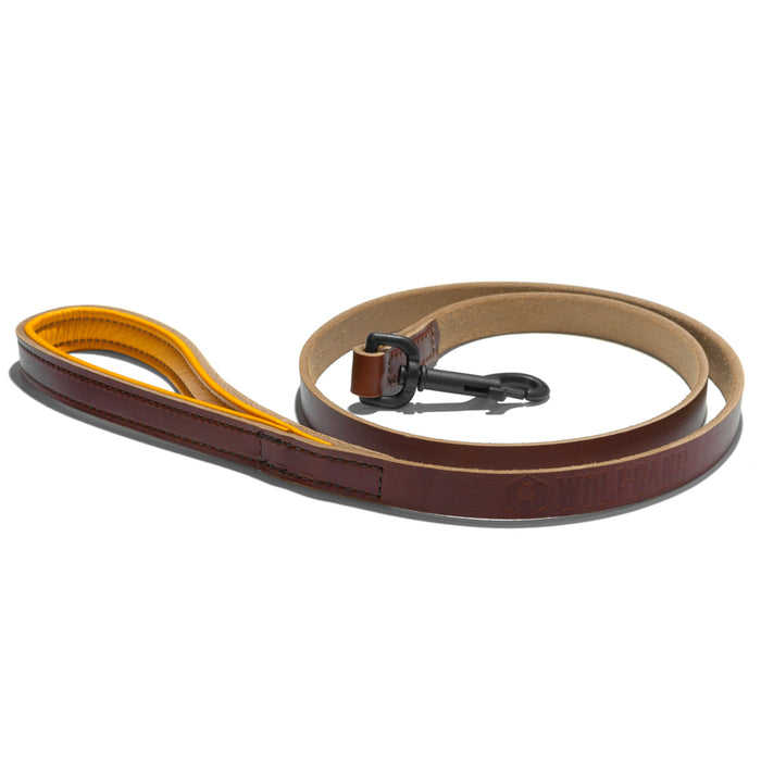 Wolfgang Horween leather tan 5-foot dog leash with glove leather lined handle.