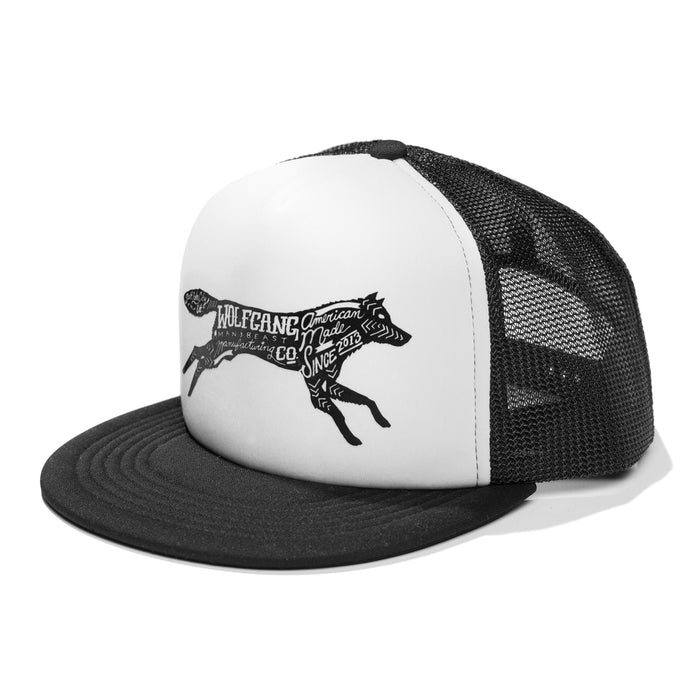 Wolfgang white & black, foam front & mesh trucker hat with wolf logo print.