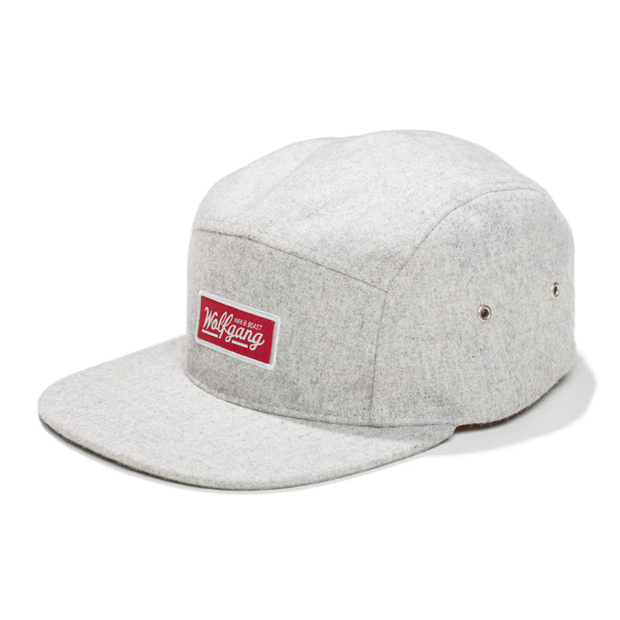 Wolfgang light gray wool 5-panel hat with red embroidered brand label.