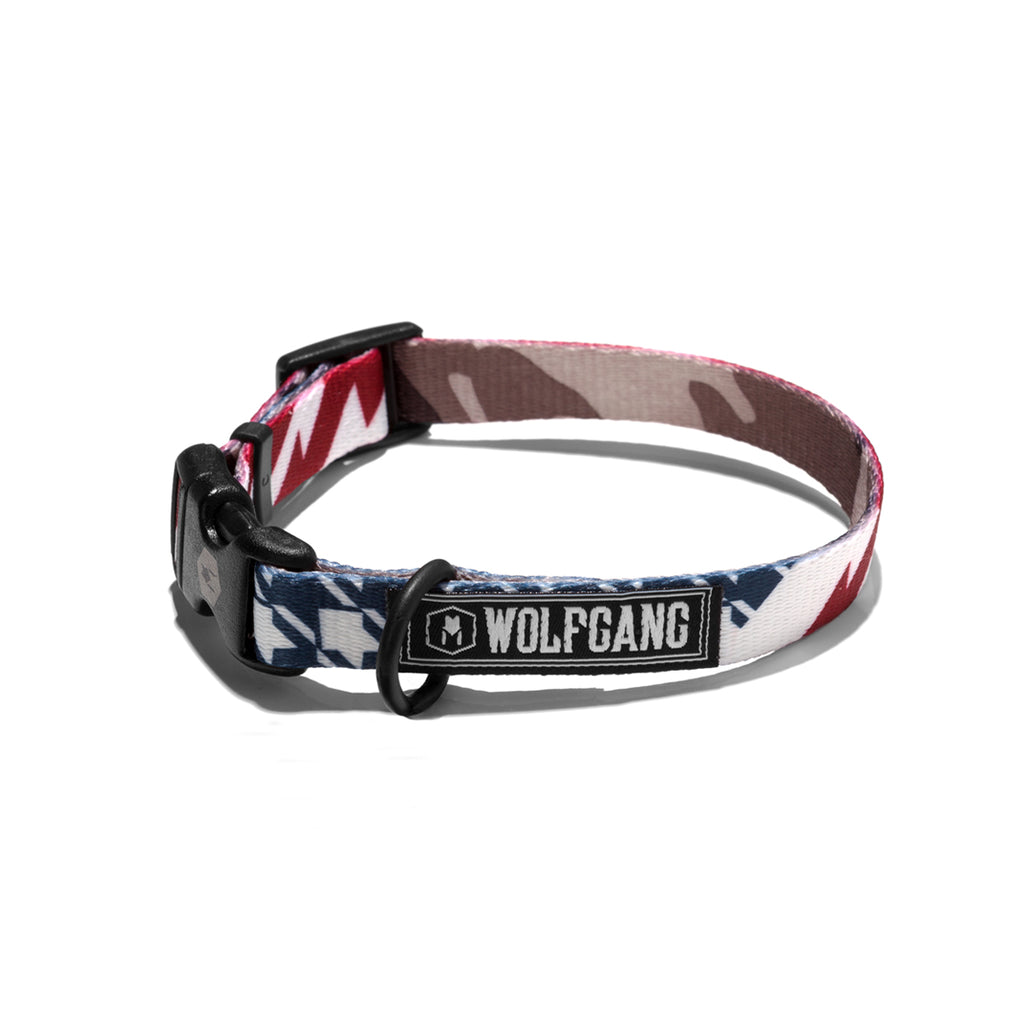 Wolfgang red, white & blue plus camouflage CamoFlag small dog collar.