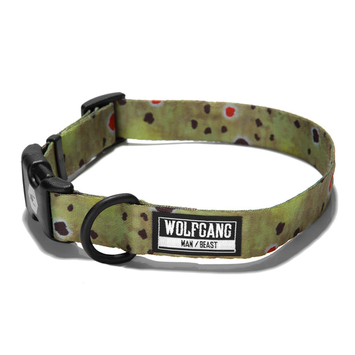 Wolfgang trout print BrownTrout dog collar.