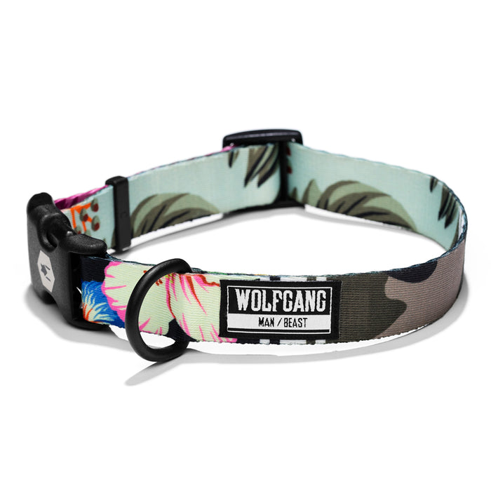Wolfgang camo/floral StreetLogic large & medium dog collar.