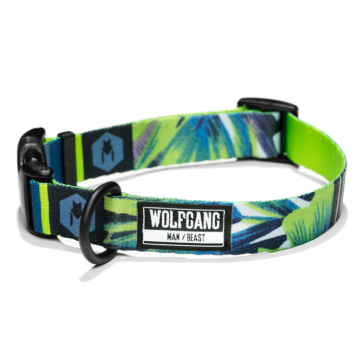 Wolfgang bright green with floral/palm print HipstaGram medium & large dog collar.