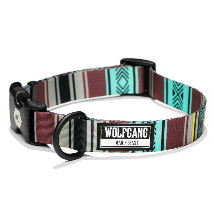 Wolfgang brick, blue and grey FarWest medium & large dog collar.