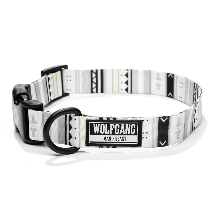 Wolfgang white, black & yellow stripe WhiteOwl medium & large dog collar.