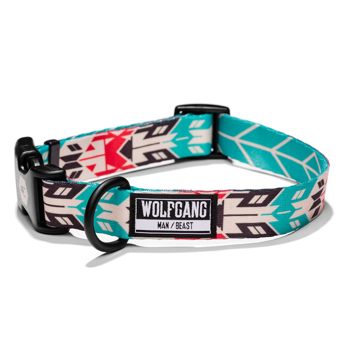 Wolfgang bright teal, flouro-pink native print FurTrader medium & large dog collar.