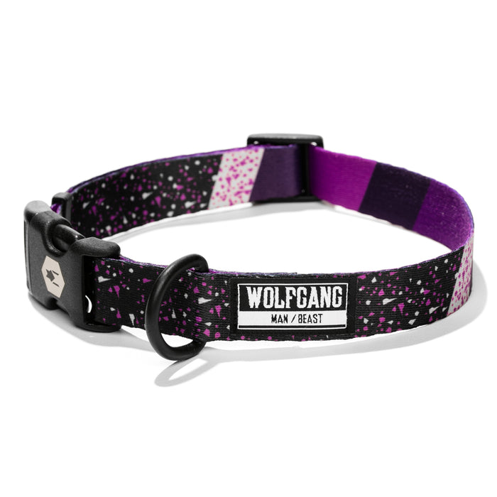 Wolfgang purple with dots & stripes SneakFreak medium & large dog collar.