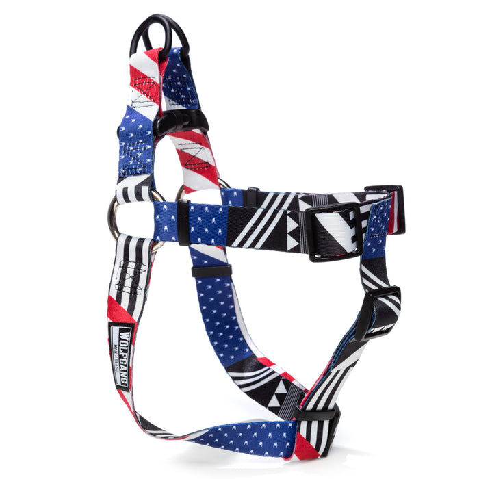 Wolfgang red, white and blue PledgeAllegiance comfort dog harness.