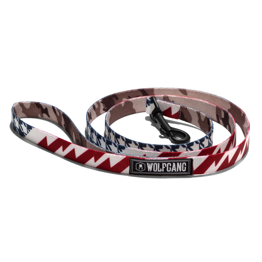 Wolfgang red, white & blue plus camouflage CamoFlag 4-foot dog collar.