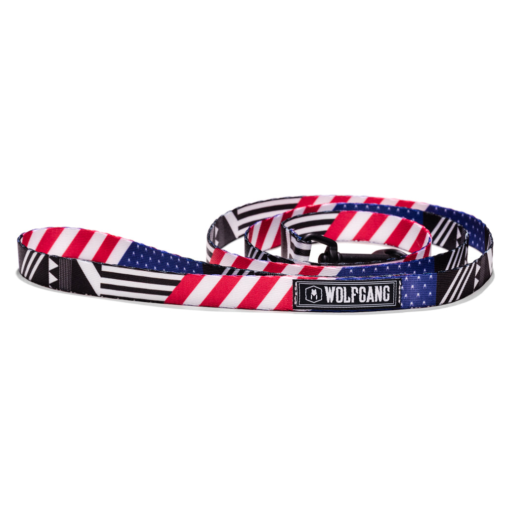 Wolfgang red, white and blue PledgeAllegiance 4-foot dog leash.