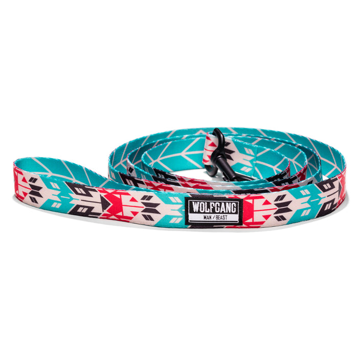 Wolfgang bright teal, flouro-pink native print FurTrader 6-foot dog leash.