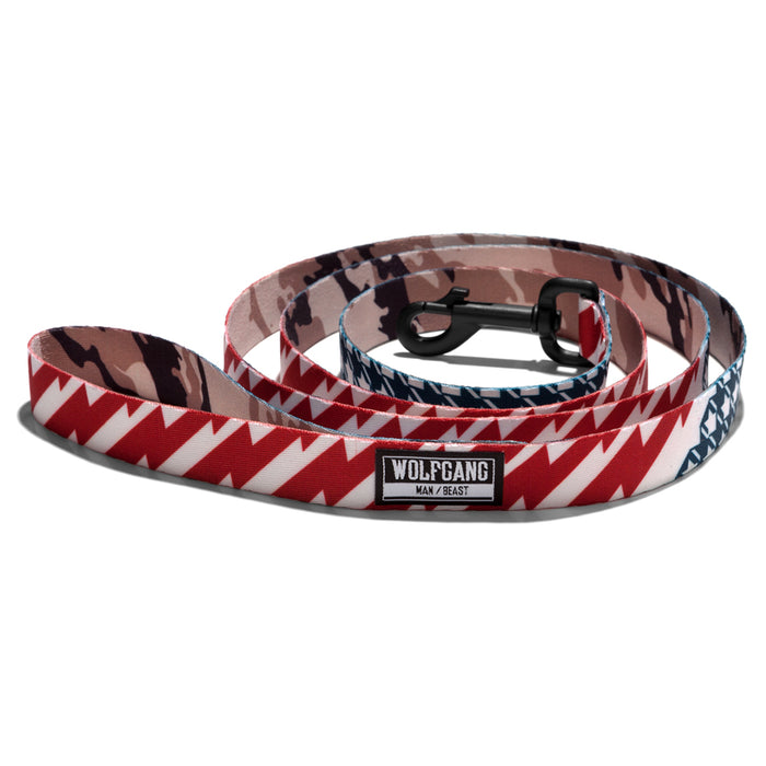 Wolfgang red, white & blue plus camouflage CamoFlag 6-foot dog leash.