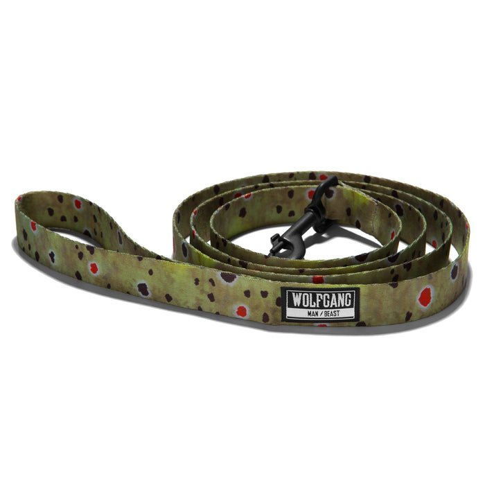 Wolfgang trout print BrownTrout dog leash.