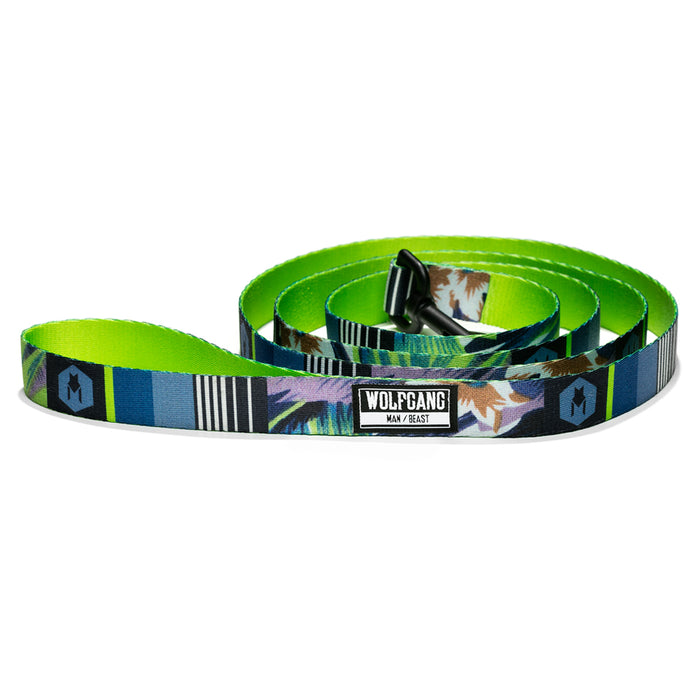 Wolfgang bright green with floral/palm print HipstaGram 6-foot dog leash.