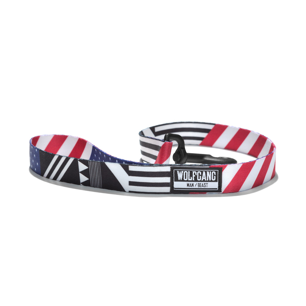 Wolfgang red, white and blue PledgeAllegiance 2-foot dog traffic lead.