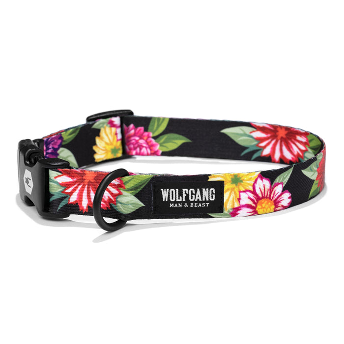 Bright floral design on black background on dog collar.