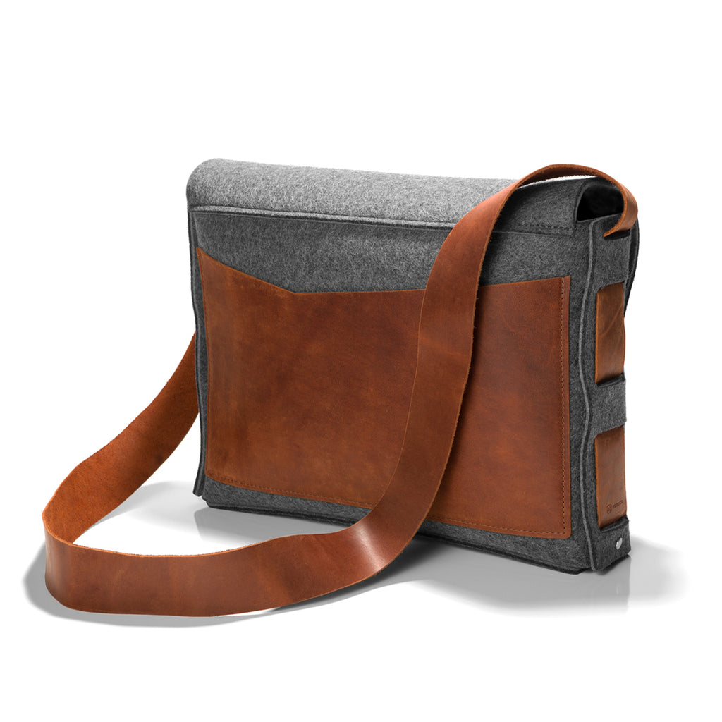 Wolfgang Felt Messenger bag in grey felt and tan leather; back.