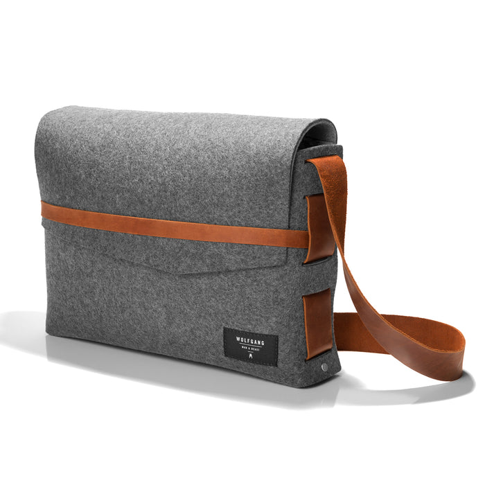 Wolfgang Felt Messenger bag in grey felt and tan leather; front.