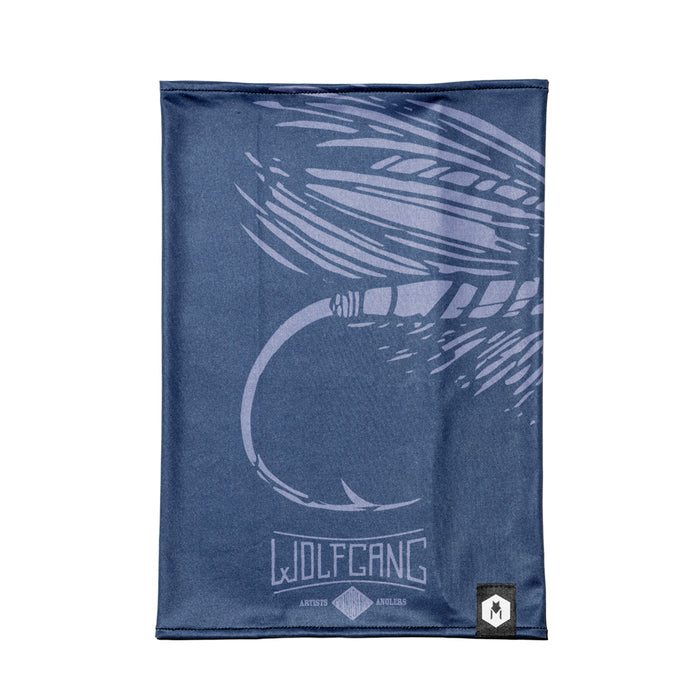 Royal blue FlyBox Wolfgang neck gaiter with fly artwork.