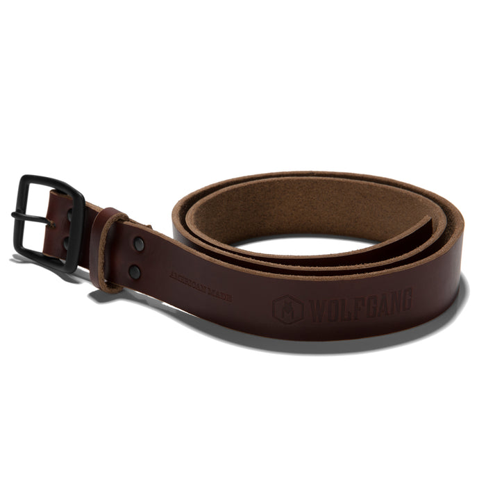 Wolfgang Horween leather tan men's belt size medium through XL.