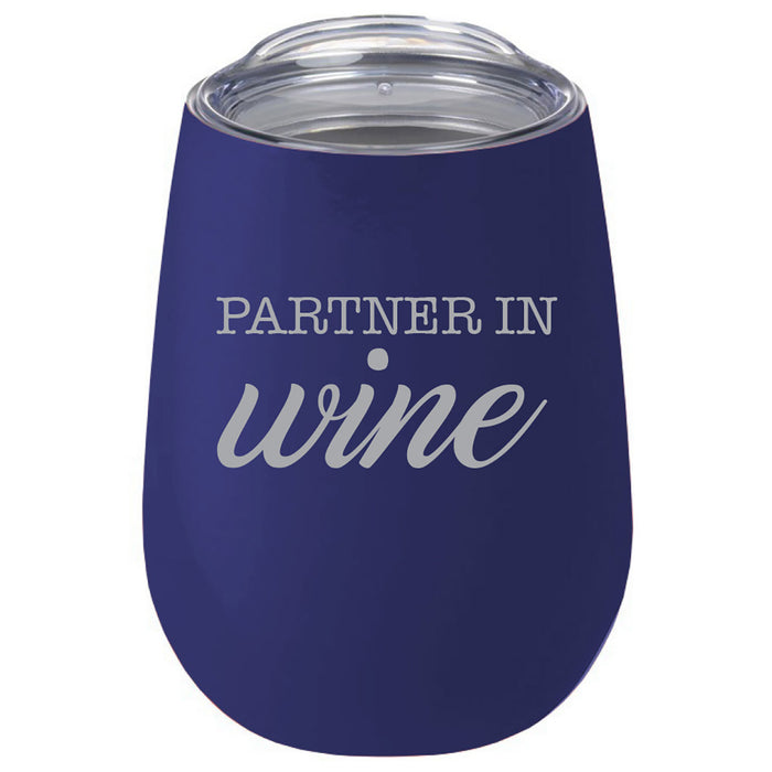 Insulated Stemless Wine Cup (Navy Blue)